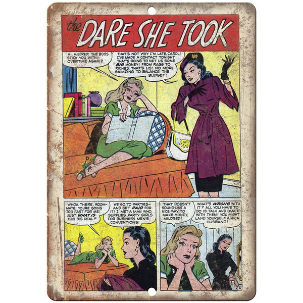 "The Dare She Took Vintage Comic Strip 10"" X 7"" Reproduction Metal Sign J340"