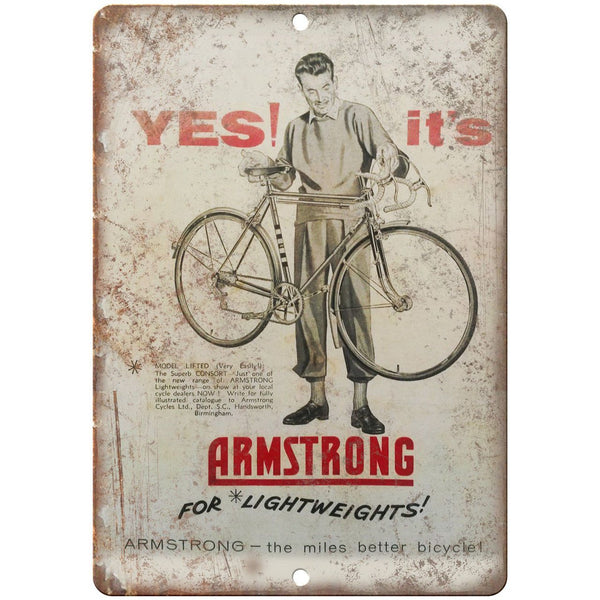 "Armstrong Bicycle Vintage Ad 10"" x 7"" Reproduction Metal Sign B370"