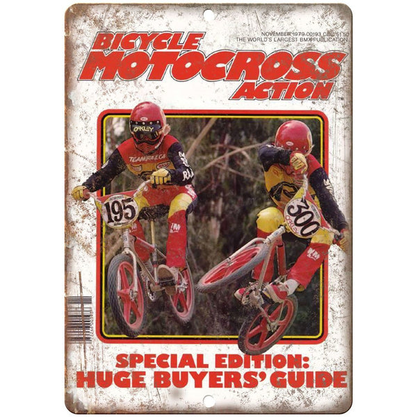 "10"" x 7"" Metal Sign - Bicycle Motocross Action BMX - Vintage Look Reproduction"