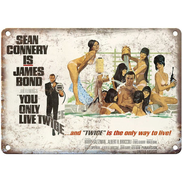 "James Bond, 007, You Only Love Twice, Sean Connery, 10"" x 7"" retro metal sign"