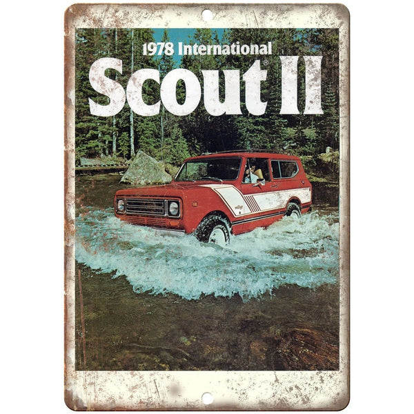"1978 - Scout 2 4x4 Truck Vintage Ad - 10"" x 7"" Reproduction Metal Sign"