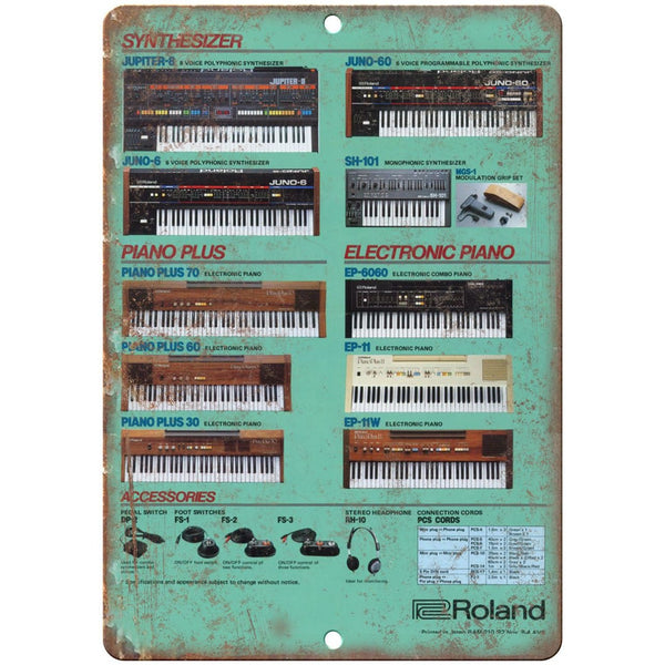 "Roland Synthesizer Electric Piano Retro Ad 10"" x 7"" Reproduction Metal Sign E13"