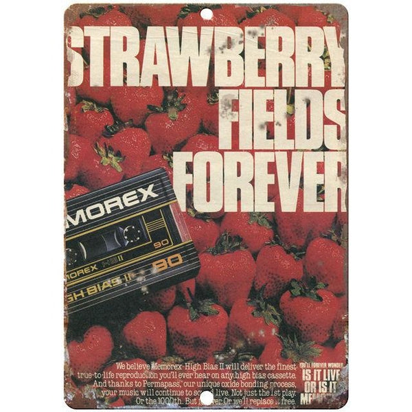 "Memorex Strawberry Fields Forever 10"" x 7"" Reproduction Metal Sign D24"