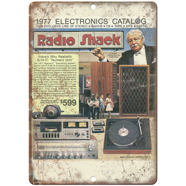 "Radio Shack Allied 1977 Electronics Catalog 10""x7"" Reproduction Metal Sign D44"
