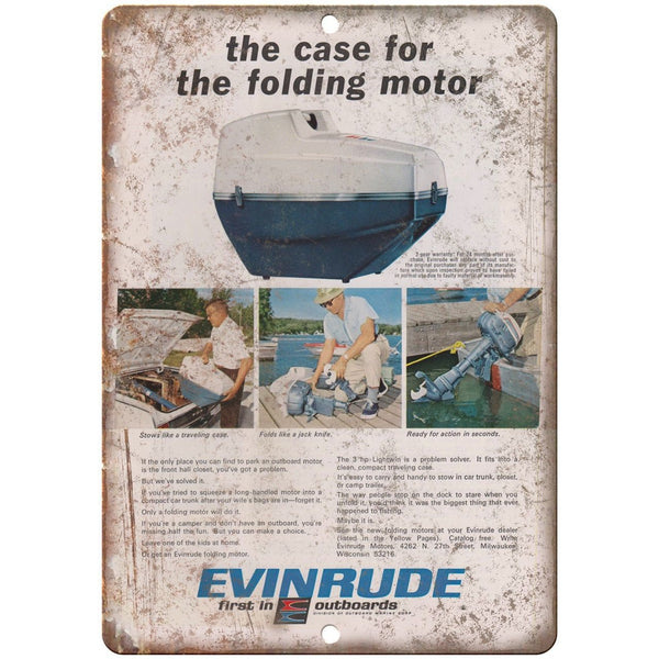 "Evinrude Outboard Folding Motor Vintage Ad 10"" x 7"" Reproduction Metal Sign"