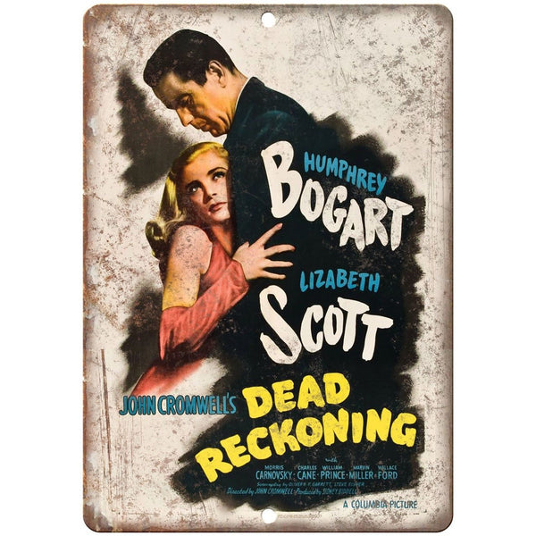 "Dead Reckoning Humphrey Bogart Movie Poster 10"" x 7"" Reproduction Metal Sign"