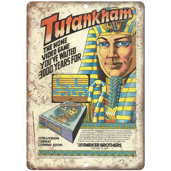 "Tutankham Parker Brothers Video Game 10"" x 7"" reproduction metal sign"