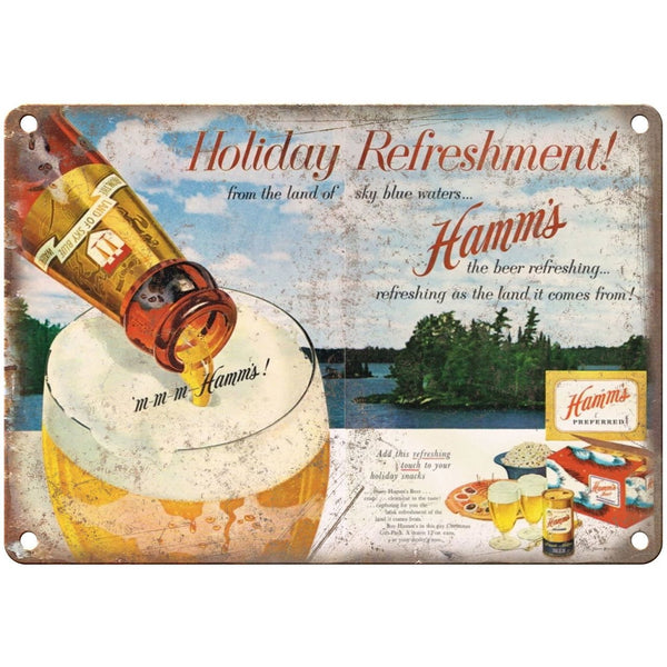 "10"" x 7"" Metal Sign- Hamm's Beer Holiday Refreshment - Vintage Look Reproduction"