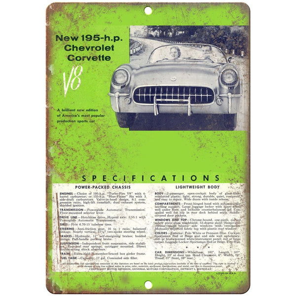 "1955 Chevy Corvette Sales Flyer 10"" x 7"" Reproduction Metal Sign"