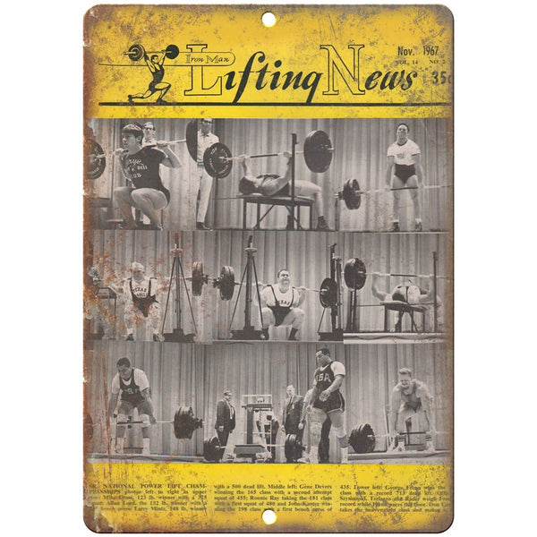 "1967 - Lifting News Rogue Fitness York Barbell 10"" x 7"" Retro Look Metal Sign"