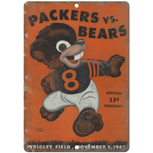 "1947 Green Bay Packers vs Chicago Bears 10"" x 7"" Vintage Look Mancave Metal Sign"