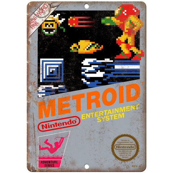 "Nintendo Metroid Game Cartrige Cover Art - 10"" x 7"" Reproduction Metal Sign"