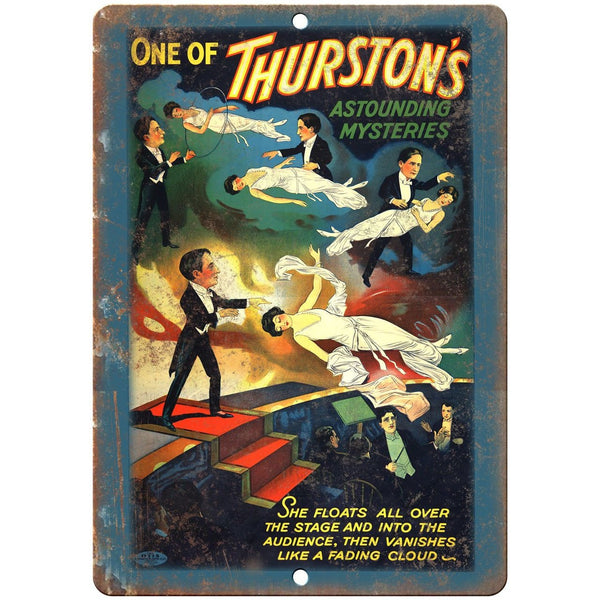 "Thurston's Astounding Mysteries Poster 10"" X 7"" Reproduction Metal Sign ZH171"