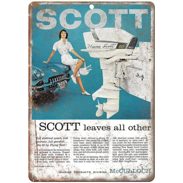 "Scott Outboard Motor Vintage Boating Ad 10"" x 7"" Reproduction Metal Sign L01"
