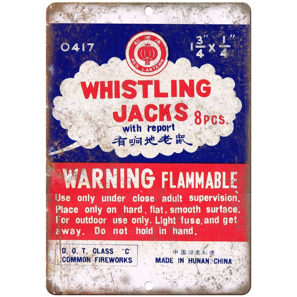 "Whistling Jacks Fireworks Package Art 10"" X 7"" Reproduction Metal Sign ZD44"