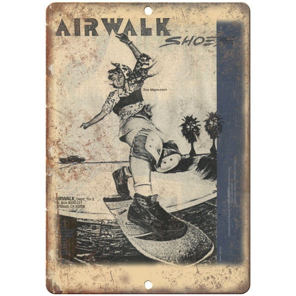 "Airwalk Shoes Tommy Magnusson Skateboard Ad 10"" x 7"" Reproduction Metal Sign"
