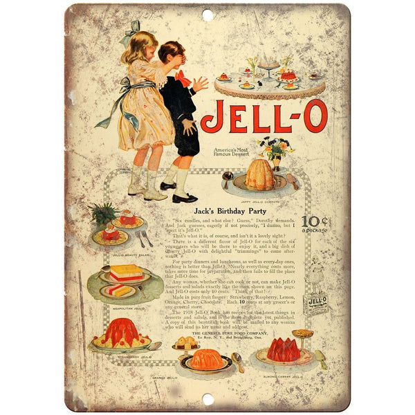 "Jell-o Birthday Desert Vintage Ad 10"" X 7"" Reproduction Metal Sign N321"