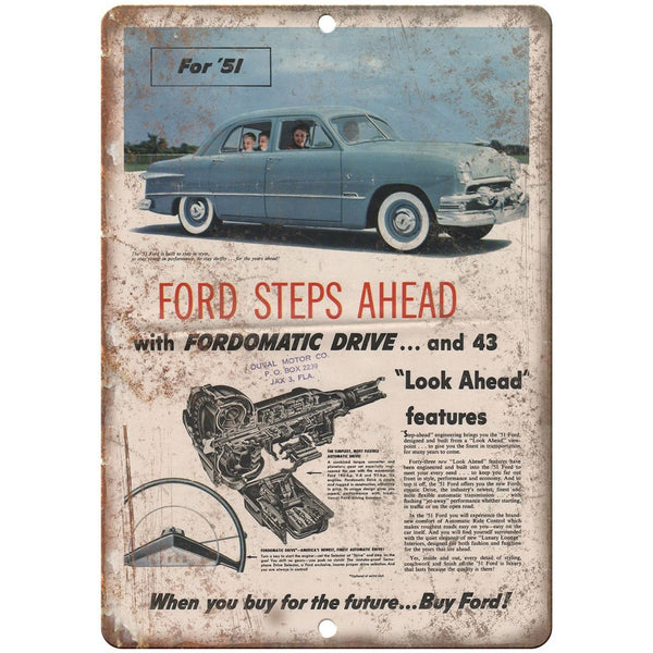 "1951 - Ford Fordomatic Drive Man Cave 10"" x 7"" Retro Look Metal Sign"