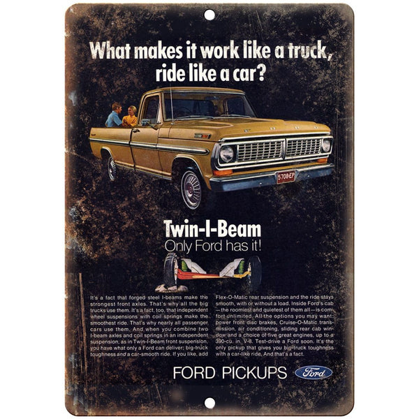 "Ford Pickup Twin I Beam Retro Ad 10"" x 7"" Reproduction Metal Sign"