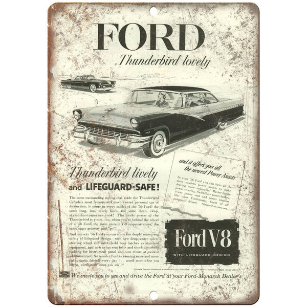 "1956 - Ford Thunderbird V8 Garage Sign - 10"" x 7"" Retro Look Metal Sign"