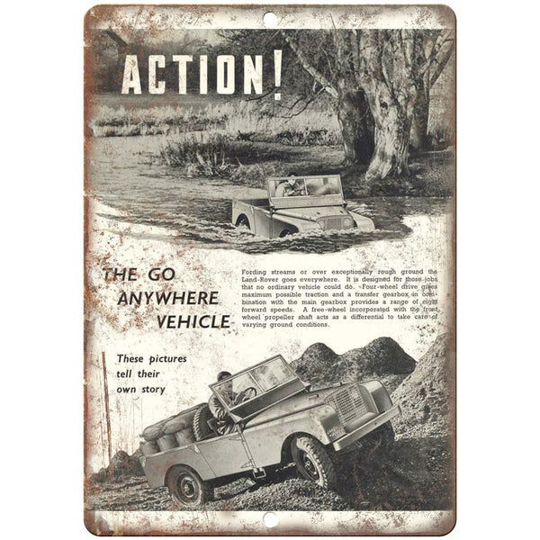 "Land Rover Jeep The Go Anywhere Vehicle - 10"" x 7"" Retro Look Metal Sign"