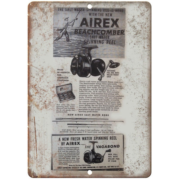 "Airex Beachbomber Fishing Reel Ad 10'"" x 7"" reproduction metal sign"