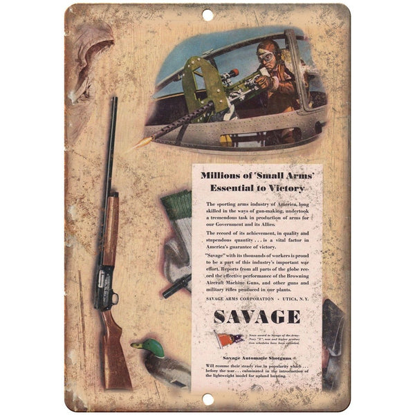 "Savage Automatic Shotguns Small Arms Ad 10"" x 7"" Reproduction Metal Sign"