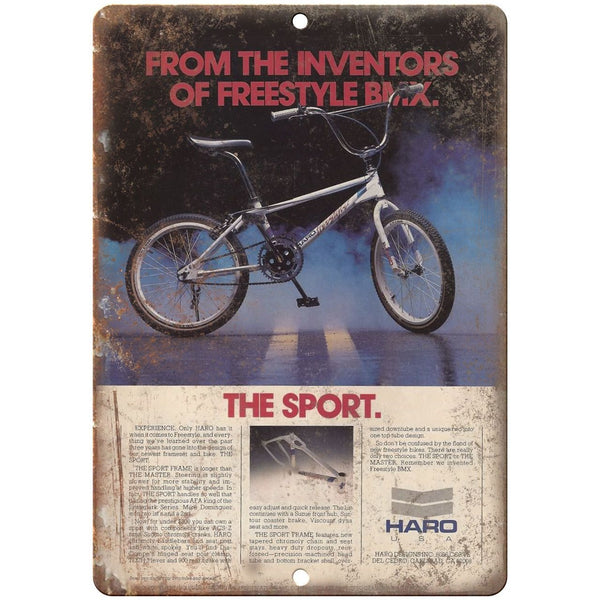 "10"" x 7"" Metal Sign - HARO BMX Sport Freestyle - Vintage Look Reproduction"