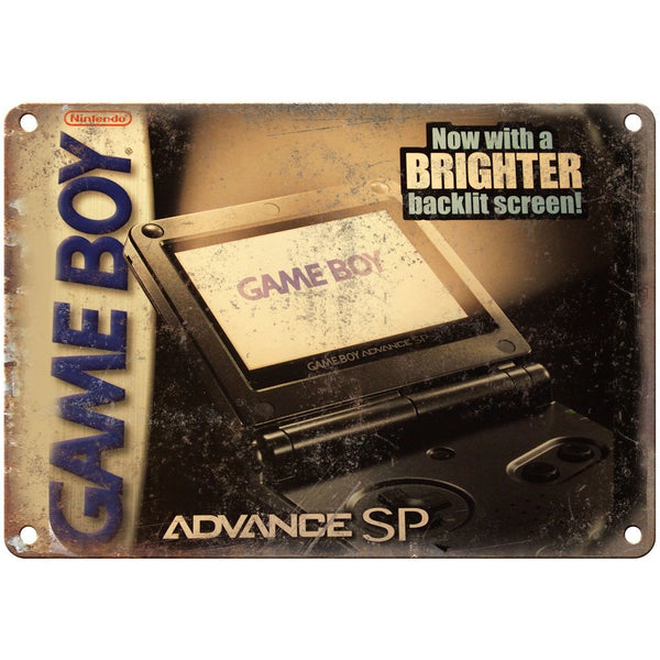 "Game Boy Advance SP Box Art Retro Gaming 10"" x 7"" Reproduction Metal Sign"