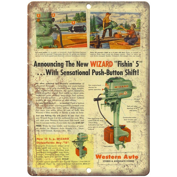 "Western Auto Wizard Push Button Outboard Motors 10"" x 7"" Reproduction Metal Sign"
