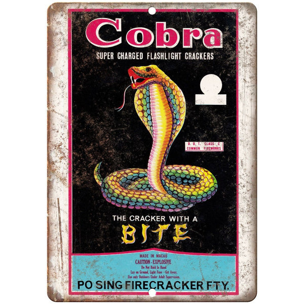 "Cobra Firecracker Package Art 10"" X 7"" Reproduction Metal Sign ZD67"
