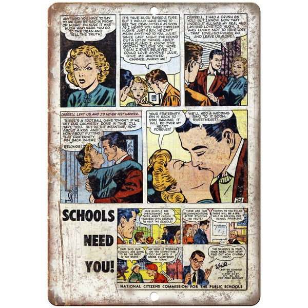 "Ace Comics Schools Need You Comic Ad 10"" X 7"" Reproduction Metal Sign J411"