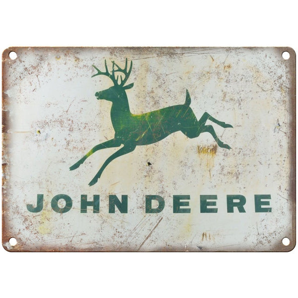 "Porcelain Look John Deere Tractors 10"" x 7"" Retro Look Metal Sign"