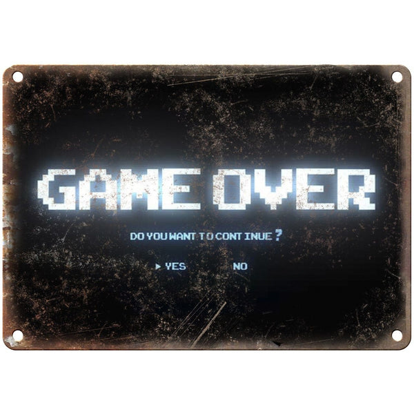 "Nintendo Game Over Screen Shot Gaming 10"" x 7"" Reproduction Metal Sign G120"