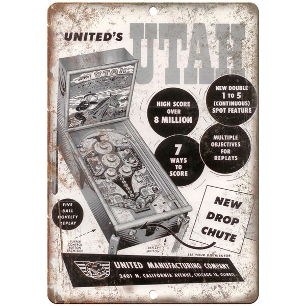 "United's Pinball Machine Utah Ad 10"" x 7"" Reproduction Metal Sign G138"