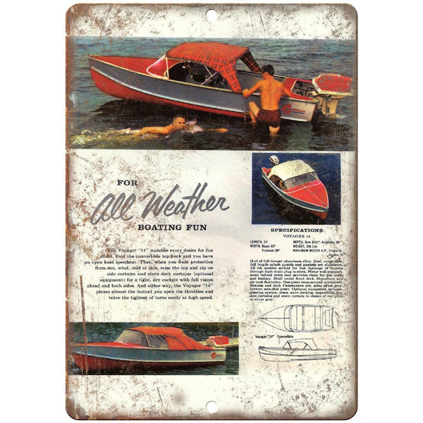 "The Voyager ""14"" Vintage Boating Ad 10"" x 7"" Reproduction Metal Sign L31"