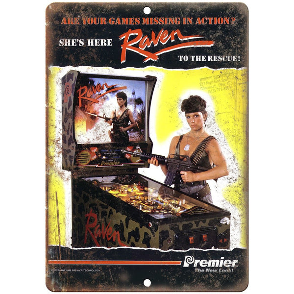 "Premier Technology Pinball Machine Raven 10"" X 7"" Reproduction Metal Sign G62"