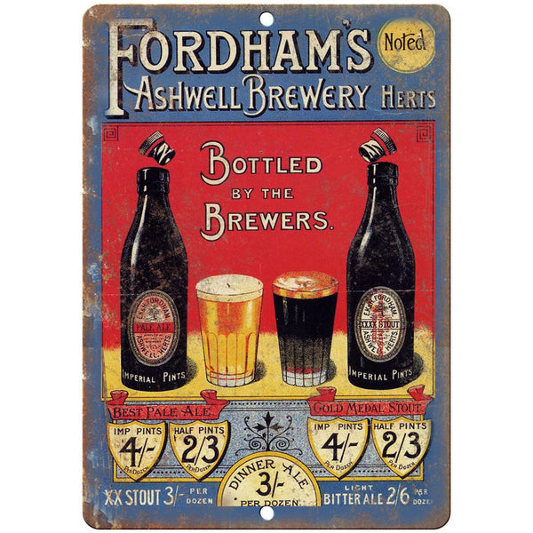 "Fordham's Ashwell Brewery Vintage Ad 10"" x 7"" Reproduction Metal Sign E348"