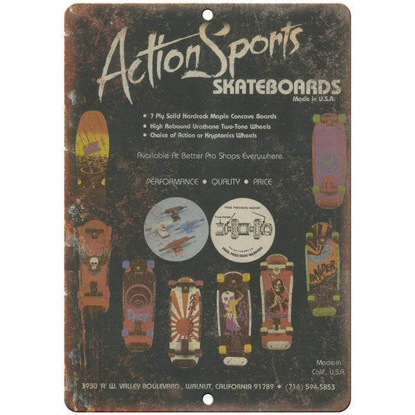 "Action Sports Skateboards Vintage Ad 10"" x 7"" Reproduction Metal Sign"