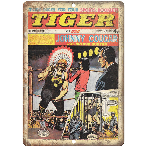 "Tiger and Jag Comic Book Vintage Ad 10"" x 7"" Reproduction Metal Sign J645"