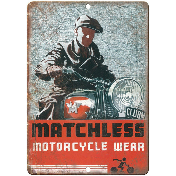 "Matchless Motorcycle Wear Vintage Ad 10"" x 7"" Reproduction Metal Sign F44"
