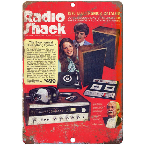 "10"" x 7"" Metal Sign - 1976 Radio Shack Catalog - Vintage Look Reproduction D02"