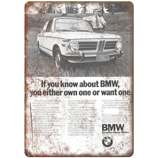 "BMW Bavarian Motor Works Vintage Print Ad 10"" x 7"" Reproduction Metal Sign A119"