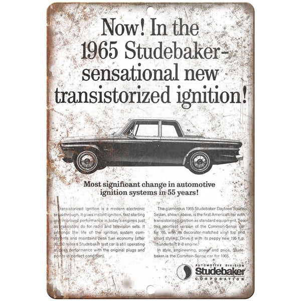 "1965 Studebaker Vintage Car Ad 10"" x 7"" Reproduction Metal Sign A426"