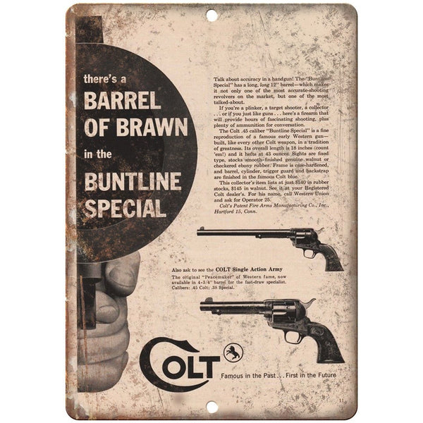 "Colt Single Action Buntline Pistol 10"" x 7"" Reproduction Metal Sign"