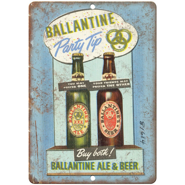 "Ballantine Ale & Beer Vintage Ad 10"" x 7"" Reproduction Metal Sign E299"