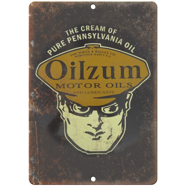 "Porcelain Look Oilzum Motor Oils Pennsylvania Oil 10"" x 7"" Retro Look Metal Sign"
