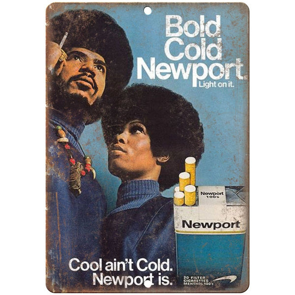 "1970s Newport Cool ain't Cold vintage ad 10"" x 7"" reproduction metal sign"