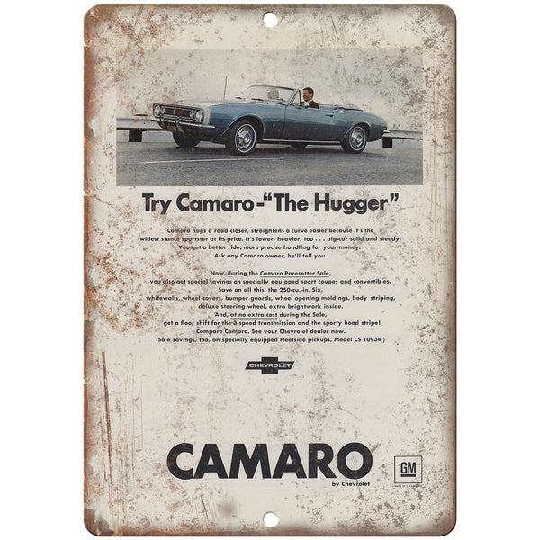 "Chevy Camaro The Hugger Vintage Print Ad Retro 10"" x 7"" Reproduction Metal Sign"