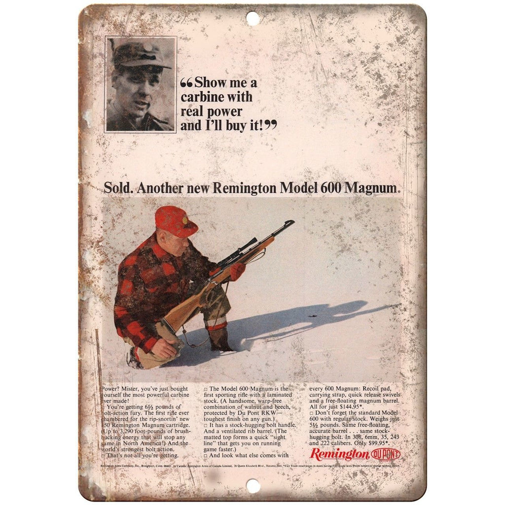 "Remington 600 Magnum Sporting Rifle Vintage Ad 10"" x 7"" Reproduction Metal Sign"